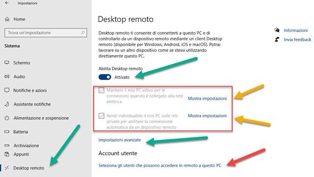 impostazioni desktop remoto windows 10