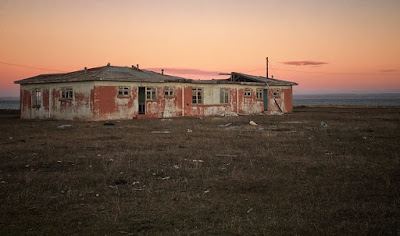 Sunset over the ghost town of Puerto Percy, Tierra del Fuego, Chile