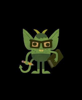 Ilustração de Um Livro Infantil dos Demônios representando uma criatura estranha com um rabo, dentes e orelhas grandes, usando um óculos e segurando nas mãos um lápis e um livro, representando algo referente à educação.