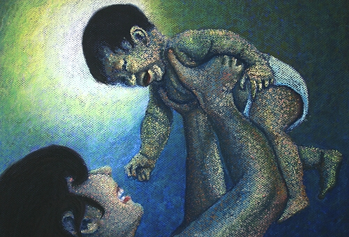 Close-up of pastel, Mother's Play by Minaz Jantz