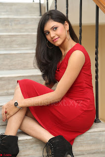 Mounika Telugu Actress in Red Sleeveless Dress Black Boots Spicy Pics 061.JPG