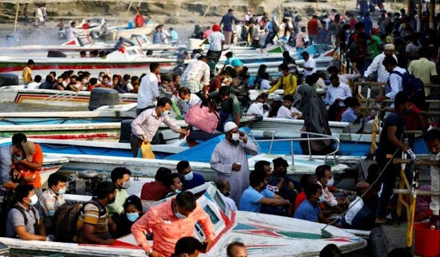 Meningkatnya Tajam Virus COVID-19 di Bangladesh, Banyak Masyarakat Berbondong-bondong Tinggalkan Kota, Penuhnya Terminal Kapal Feri