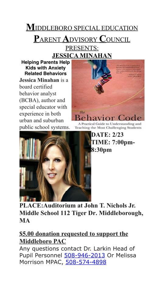 Jessica Minahan Med Bcba Speaks On >> Middleborough Family Resource Center Author Of The Behavior