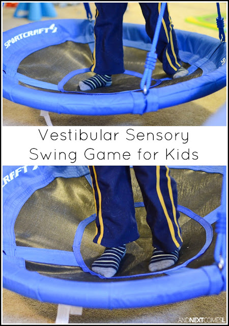 Vestibular sensory swing game for kids to practice left vs right from And Next Comes L