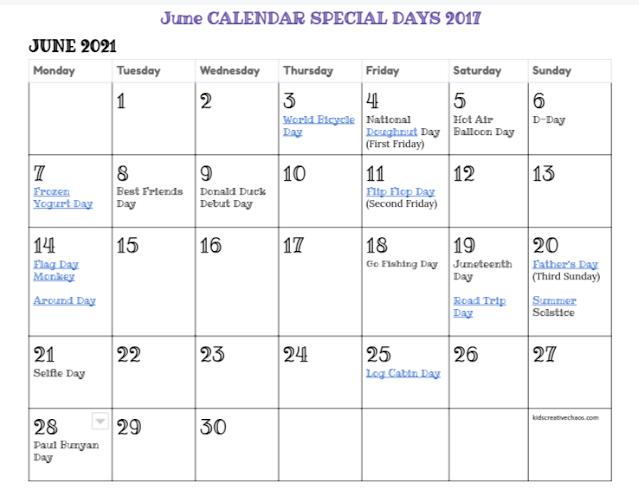 Printable June Calendar Special Days Holidays 2021