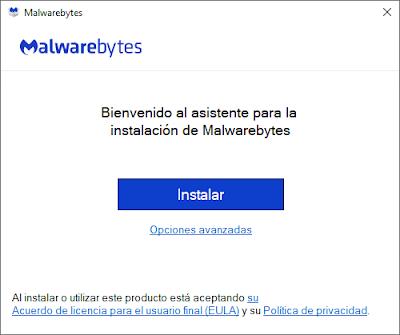 Clicaremos Instalar para iniciar el proceso instalación Malwarebytes