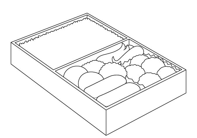 Makanan anime di kotak makan siang menggambar gambar garis
