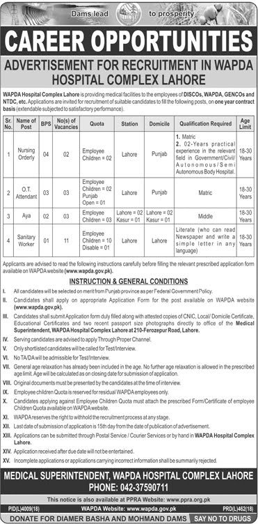 WAPDA Jobs 2019 Apply Online