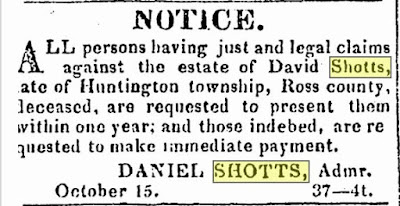 Treasure Chest Thursday – Notice of Claims against Estate of David Shotts, of Ross Co, Ohio