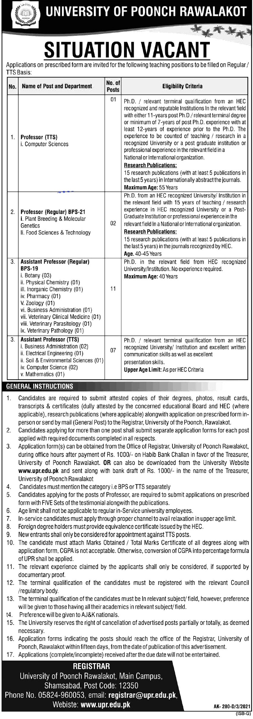 Latest Jobs in University of  Poonch Rawalakot 2021