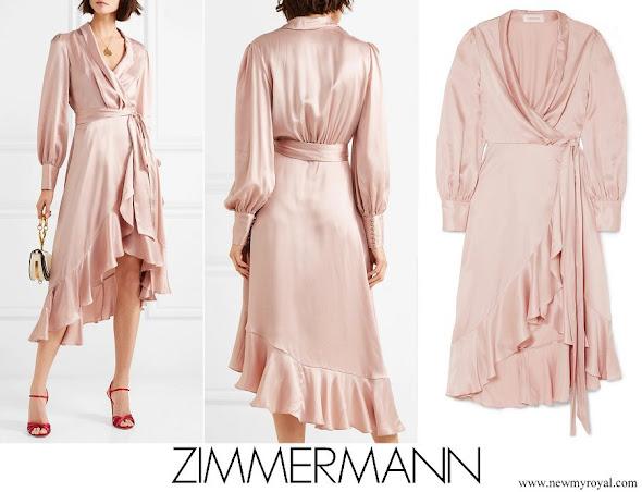 Princess Madeleine wore ZIMMERMANN Ruffled washed-silk wrap dress