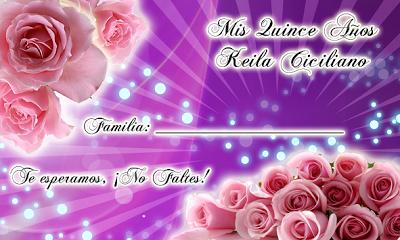 Tarjeta de Confirmación de Invitados para 15 Años novedosa en color Lila con rosas y destellos de luz