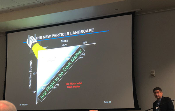 Professor Fend explains new domain of the particle landscape explorable by FASER (Source: Palmia Observatory)