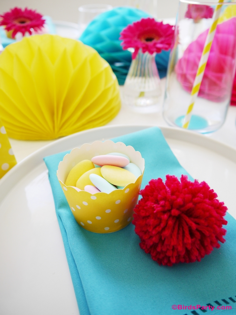 Mother's Day Color Pop Tablescape DIY Party FavorsMother's Day Color Pop Party Favors and DIY Gifts - BirdsParty.com