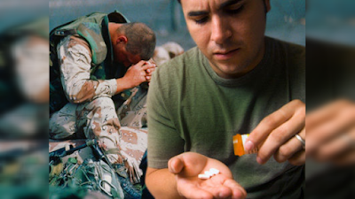 soldado consume una dosis de droga