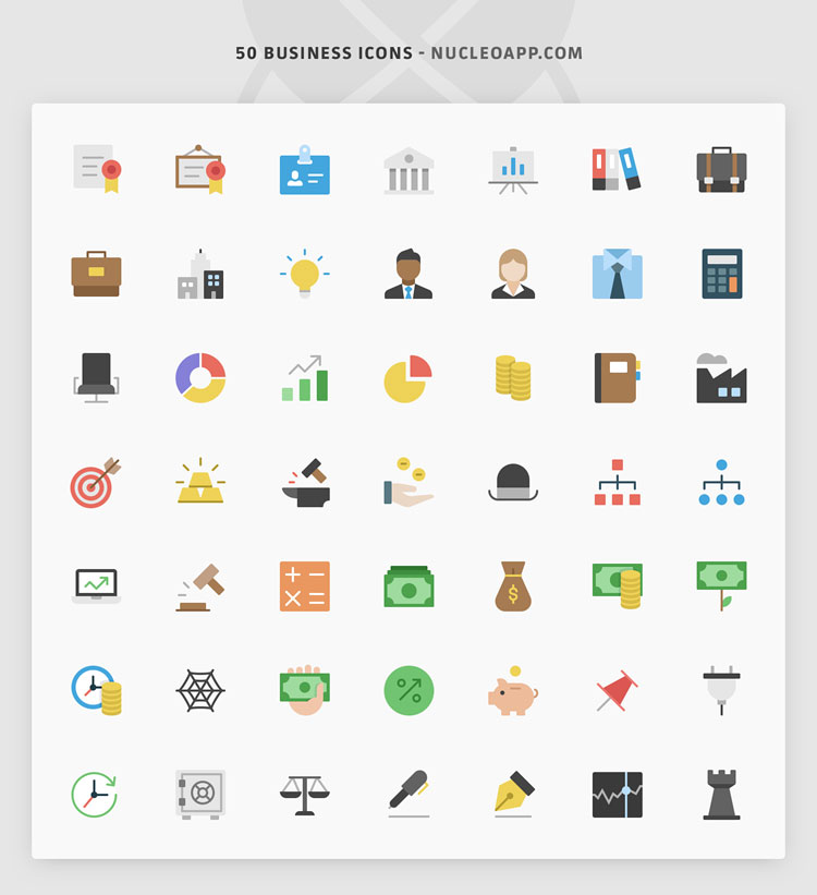 50 Flat Business Icon Set