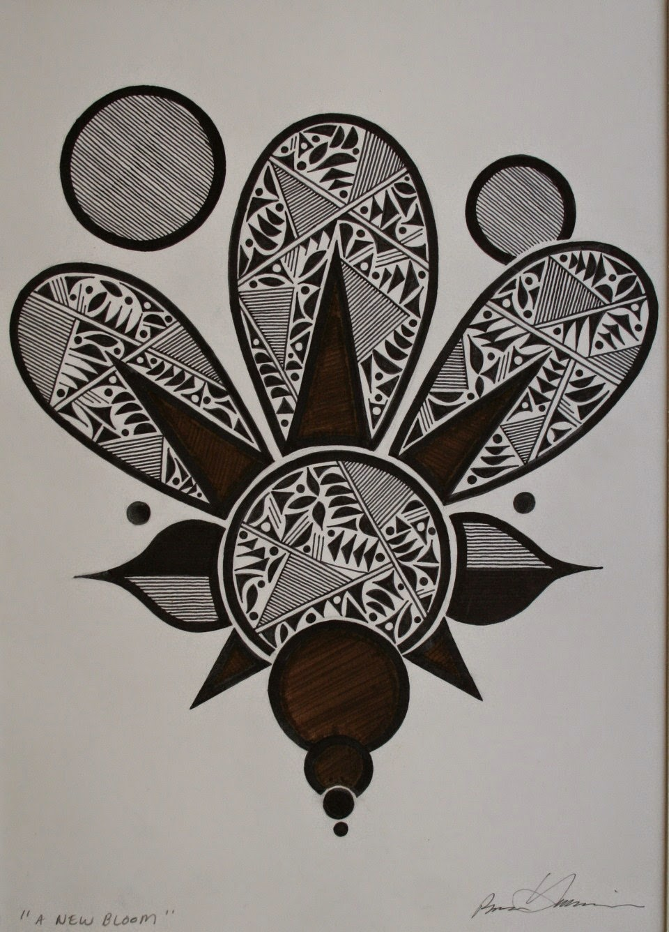 Black And Brown Pen Design Image Size 8 5 X 12 25 Matted In A Light Tan Mat With An Off White Frame 16 Itself Matting 175 00