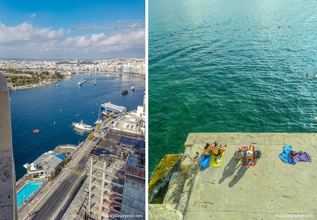 A Enseada de Sliema (Marsamxett Harbour) vista doo 19º andar do Seafront Tower Suites, em Malta, e a Praia de Tigné Point