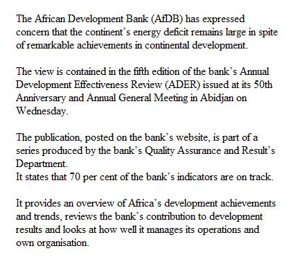 Energy deficit Africa> www.checklistmag.com