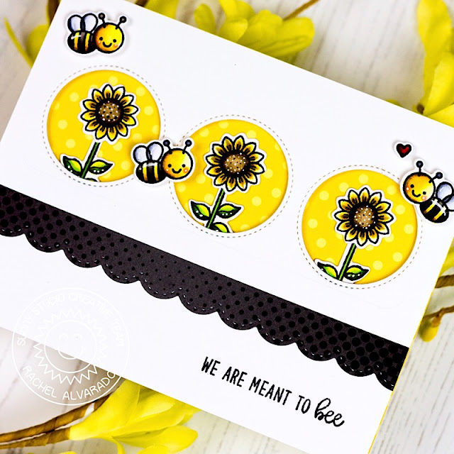 Sunny Studio Stamps: Just Bee-cause Happy Harvest Window Trio Dies Frilly Frames Bee Themed Cards by Rachel Alvarado