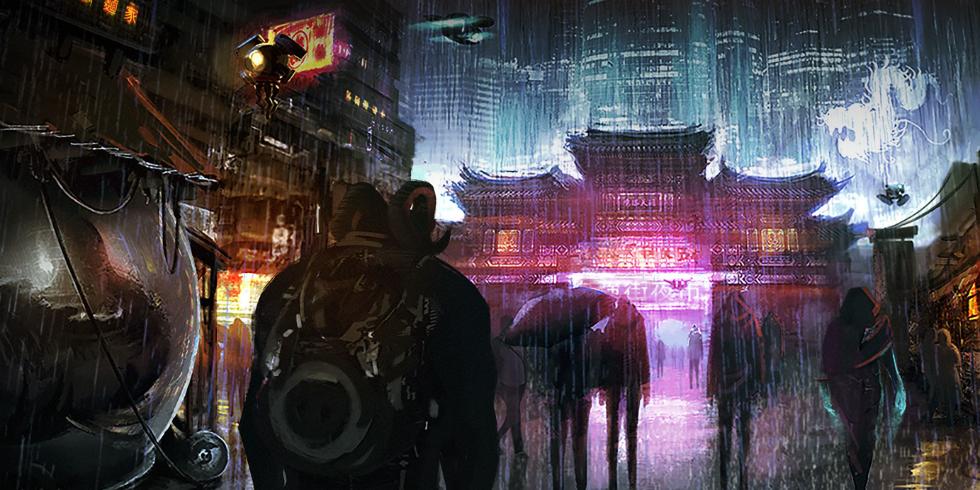 Una calle cualquiera de Hong Kong en Shadowrun