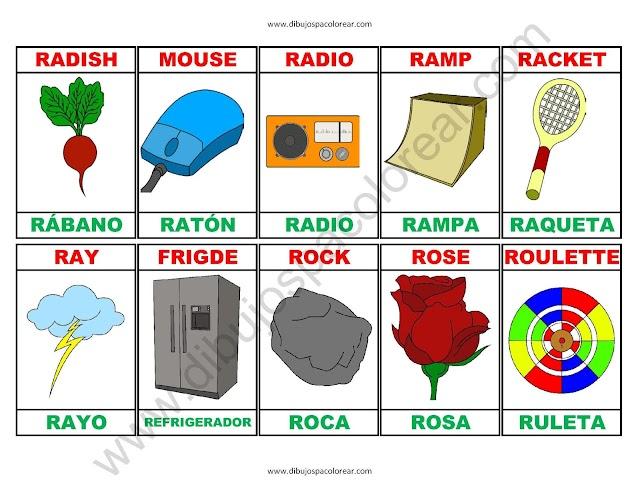 Memorama a color Español - Ingles de la letra R