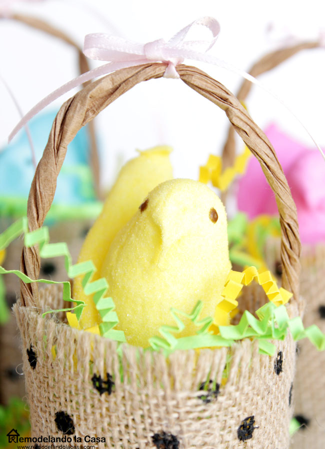 burlap baskets made out of ribbon for Easter