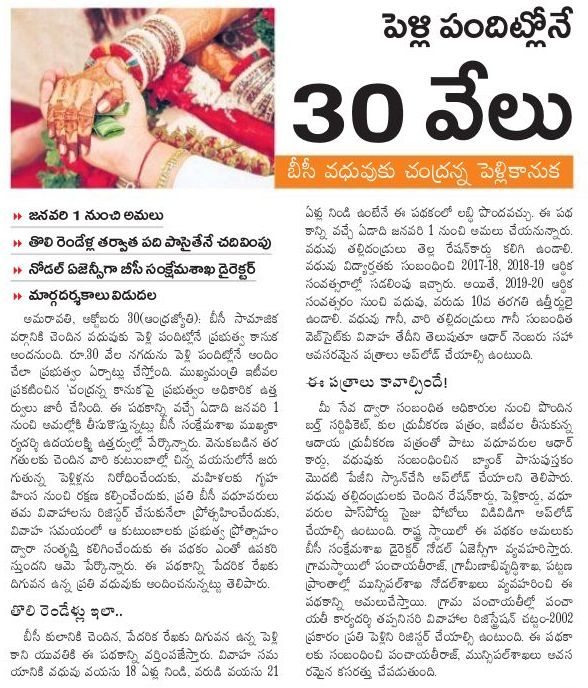 Chandranna Pelli Kanuka Guidelines, Online Apply for BC Marriages