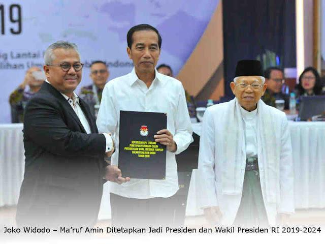 Joko Widodo – Ma'ruf Amin Ditetapkan Jadi Presiden dan Wakil Presiden RI 2019-2024