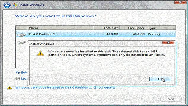 Windows could not be installed to this disk