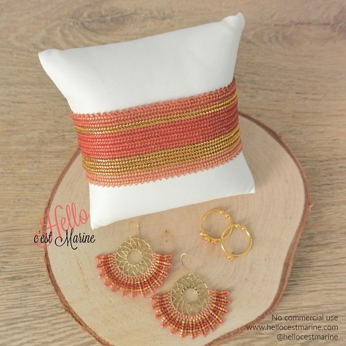Boucles d'oreilles mandalas et bracelet rose tissés en brickstitch et herringbone avec des perles Miyuki delicas par Hello c'est Marine