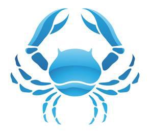 Imagen de un Cangrejo de color azul que representa al signo del zodiaco Cáncer