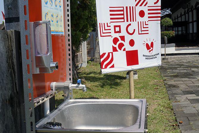 Tersedia tempat cuci tangan di bagian luar dan mendekati pintu keluar museum
