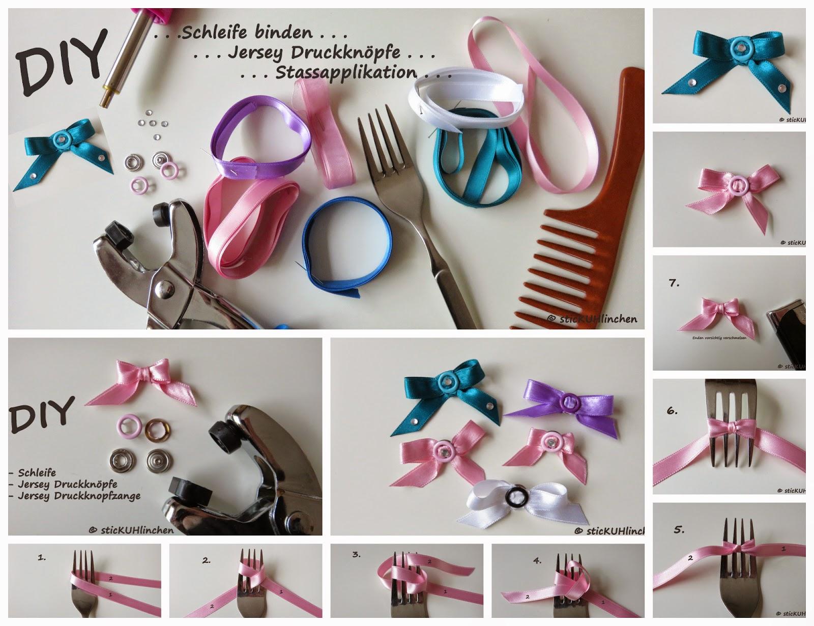 f85c86e04bdaea DIY Schleife mit der Gabel binden und mit Jersey Drucknöpfen zum süßen  Accessoires gestalten !