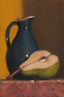 Still life oil painting of a blue sauce jug beside a pear half.