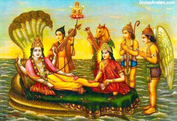 Vishnu Narada and Brahma