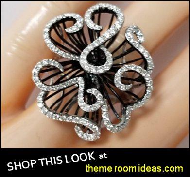Black Gold   Diamond Ring Flower Cocktail Filigree Design estate rings womens rings