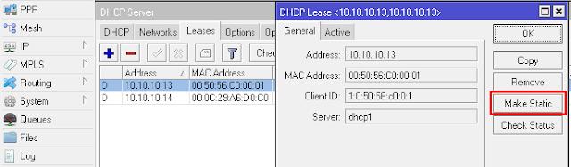 """Gambar Konfigurasi DHCP """"Make Static"""" pada Mikrotik"""