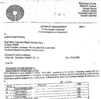 Why is Justice Indrajit Mahanty servicing a working capital loan of Rs 2.5 cr from State Bank of India, which he took in his own name in February 2009? Read SBI's loan sanction letter issued on 16th Feb 2009 in the name of Justice Indrajit Mahanty himself (and not in the name of Latest Generation Entertainment Pvt. Ltd.)
