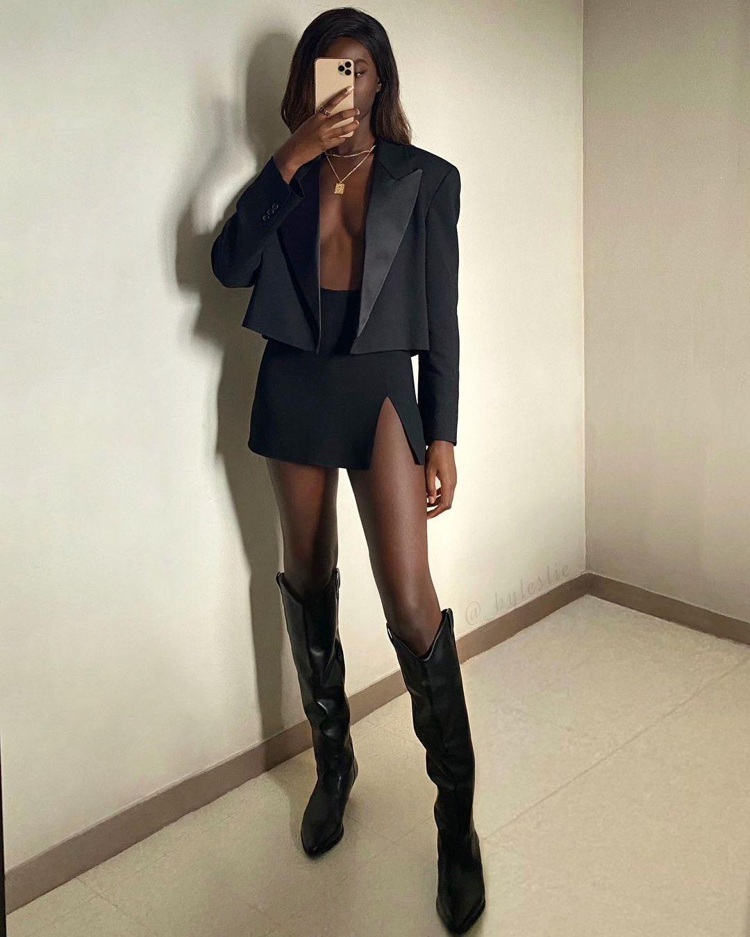 Mini skirt and black blazers