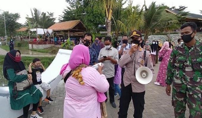 Jajaran Polres Serang Kota Bersama Satgas Covid-19 Kecamatan Curug, Himbau Pengunjung Wisata MBS untuk Patuhi Prokes