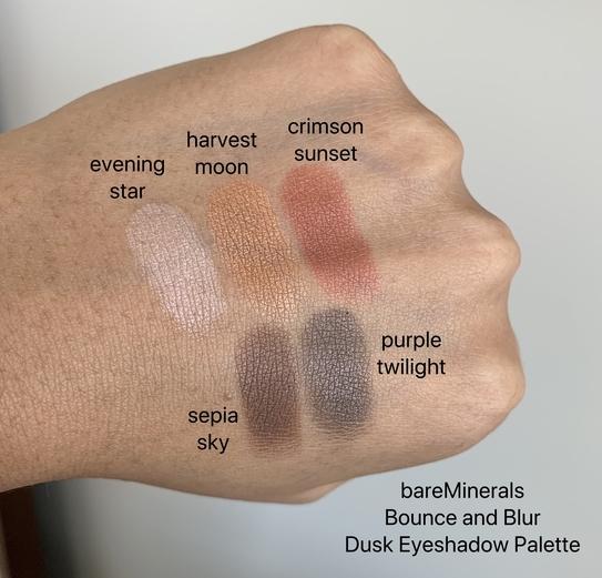 bareMinerals Bounce and Blur Dusk Eyeshadow Palette Swatches on Dark Skin