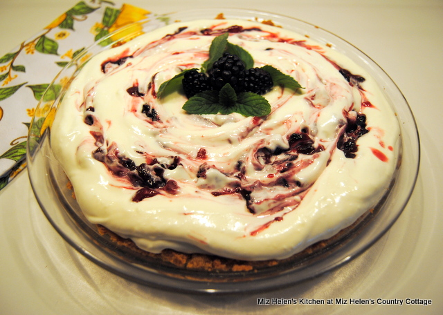 Blackberry Swirl Frozen Pie at Miz Helen's Country Cottage