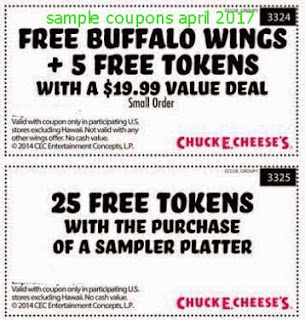 Chuck E Cheese coupons for april 2017