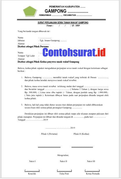Contoh Surat Perjanjian Sewa Tanah Wakaf
