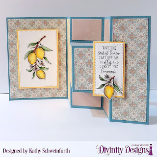 Divinity Designs Stamp Set: Lemon Branch, Custom Dies:Half Shutter Card with Layers, Belly Band, Pierced Rectangles, Paper Collections: Birthday Brights, Cozy Quilt,, Ephemera Essential