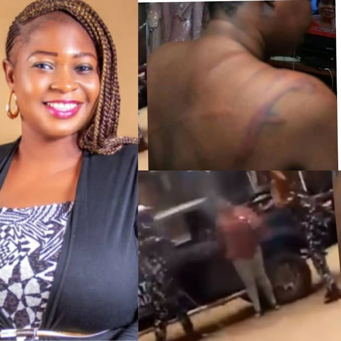 Nigerian Lady flogged by Police officers for sitting outside her home (Video)