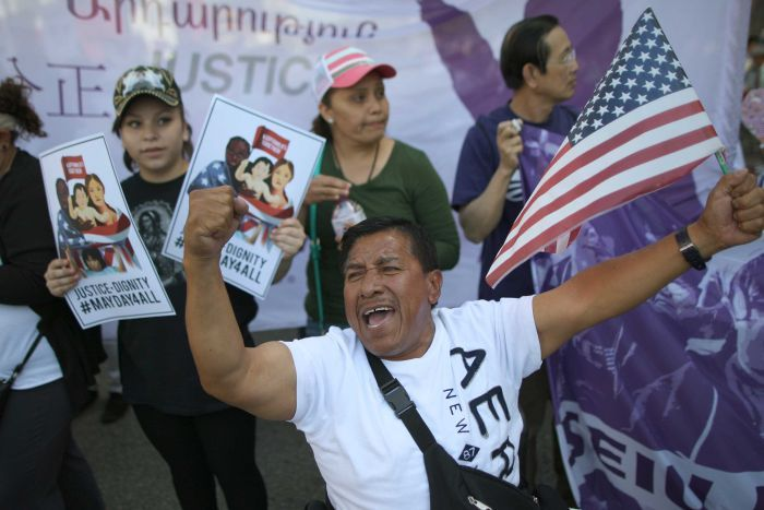 Demonstrators call for immigration reform in Los Angeles.