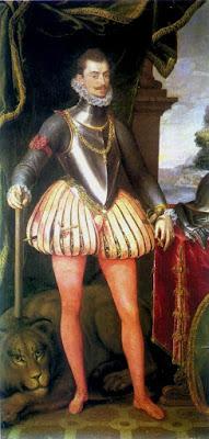 Don Juan de Austria debió ser un buen mozo, a juzgar por el éxito entre las damas. Anotamos la notable evolución de la moda masculina en estos siglos.