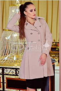 Palton de iarna elegant de dama roz cu mediu